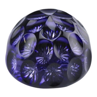 1970s English Webb Corbett Amethyst Crystal Faceted Paperweight For Sale