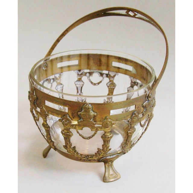 Antique Brass Filigree & Crystal Basket - Image 4 of 10