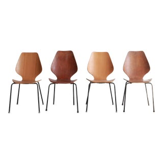 Vintage Mid Century Arne Jacobsen Style Dining Chairs- Set of 4 For Sale