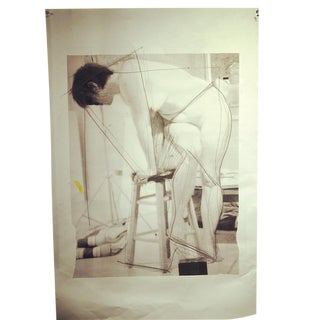 Large Conceptual Contemporary Photo / Abstract Nude Figure Mixed Media on Blueprint Paper For Sale