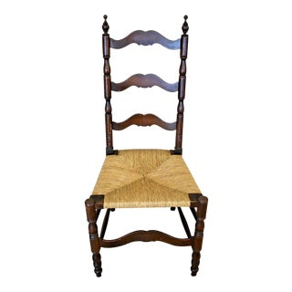 Antique Turn of the Century Ladder Back Rush Seat Chair For Sale