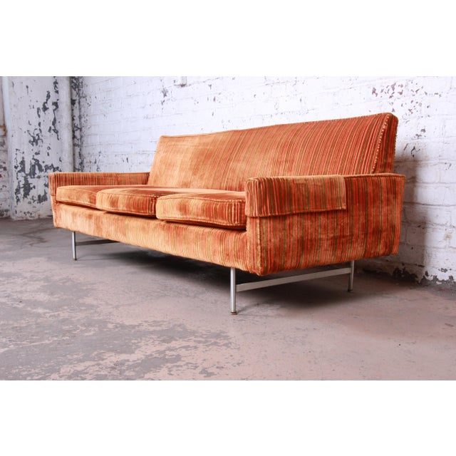 A rare and exceptional mid-century modern sofa from the Linear Group line by Paul McCobb for Calvin Furniture. The sofa...