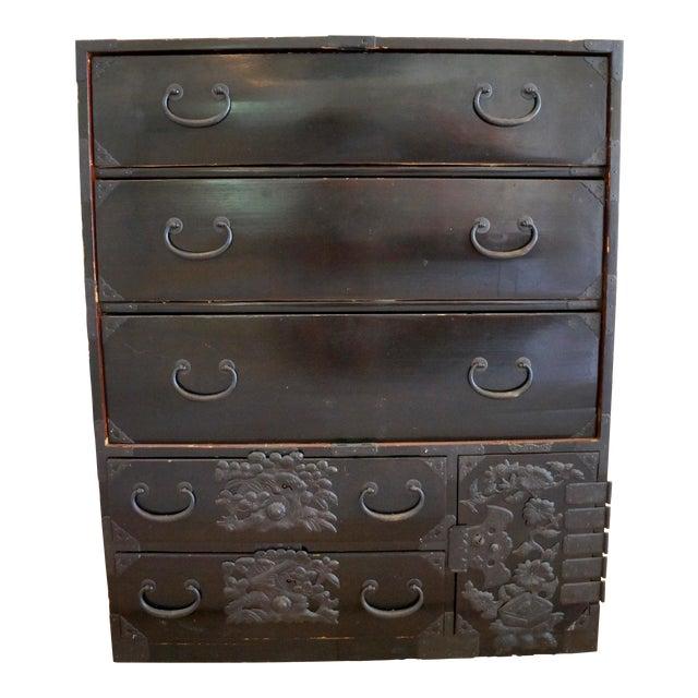 Vintage Black Lacquer Tansu Dresser - Image 1 of 9