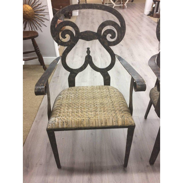 Traditional Hand-Forged Iron & Rattan Armchairs - a Pair For Sale - Image 3 of 13