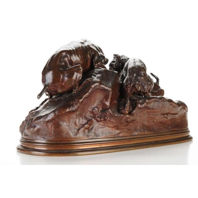 """Pierre-Jules Mene '3 dogs Ferreting"""" Original Bronze Sculpture c.1890s - Image 5 of 11"""