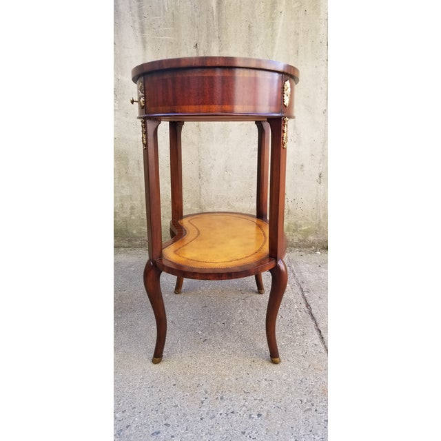 2000 - 2009 Maitland-Smith Mahogany & Sienna Leather Side Table For Sale - Image 5 of 13