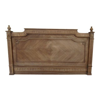 French Walnut Chevron Pattern Headboard For Sale