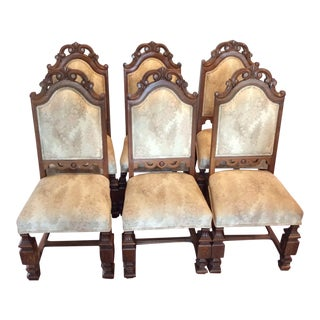 Walnut Vintage Dining King Chairs - Set of 6 For Sale