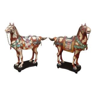 Huge Charming Painted Tessellated Bone Chinese Tang Horses
