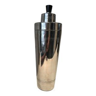 Art Deco Chrome Black Stylized Cocktail Shaker For Sale
