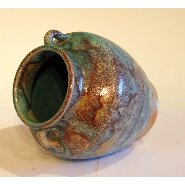 1940s Vintage 1940s Pottery Arts & Crafts Jugtown Flambe North Carolina Chinese Jun Vase For Sale - Image 5 of 12