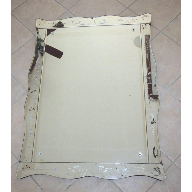 1930s 1930s Art Deco Scalloped Etched Wall Mirror For Sale - Image 5 of 11