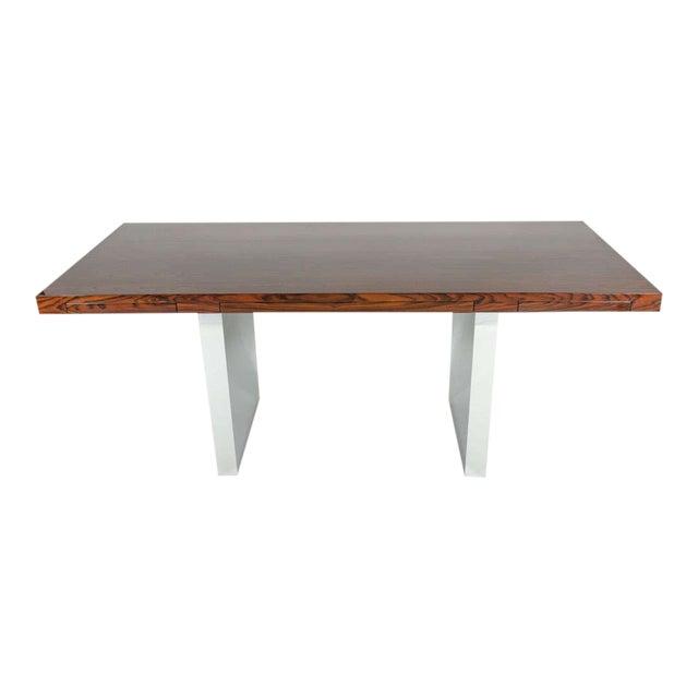 Roger Sprunger for Dunbar Rosewood & Chrome Executive Desk For Sale