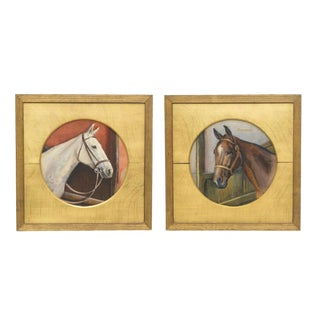 Edward G. Hobley Horse/ Equestrian Watercolor Paintings - a Pair For Sale