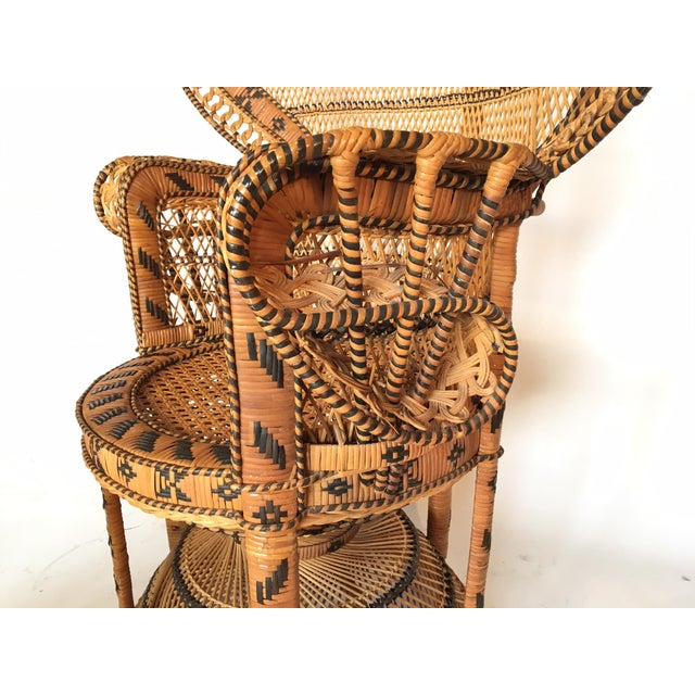 Boho Chic Vintage Emmanuelle Peacock Chair With Matching Ottoman For Sale - Image 3 of 11