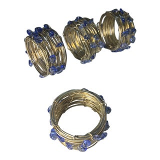 Beaded Blue Brass Wound Wire Napkin Rings - Set of 4 For Sale