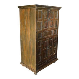 Rustic Indian Wood Cabinet With Five Hand Carved Doors, Mid-19th Century Preview