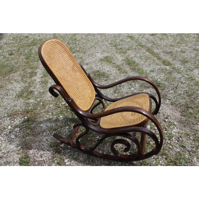 Vintage Rattan Rocking Chair For Sale - Image 9 of 9