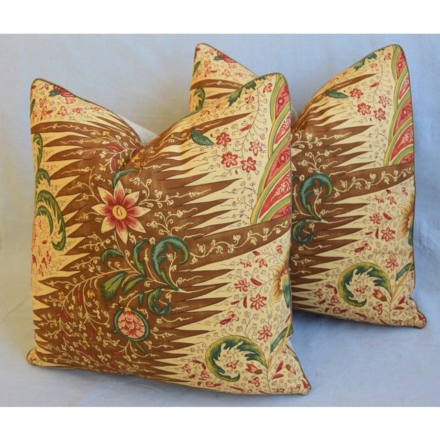 """Green French Pierre Frey La Riviere Feather/Down Pillows 21"""" Square - Pair For Sale - Image 8 of 13"""
