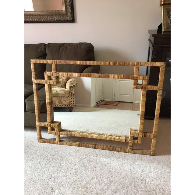 Boho Chic Mid-Century Rattan Mirror Excellent Condition For Sale - Image 3 of 3