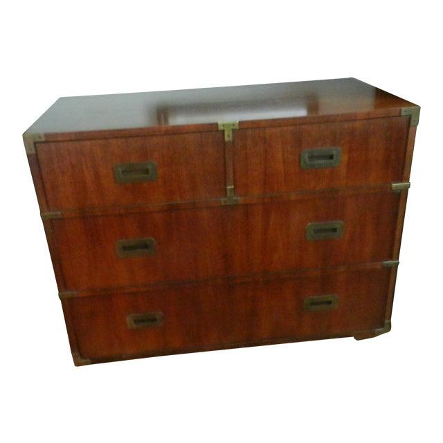 Henredon Campaign Style Double Dresser, Pecan For Sale