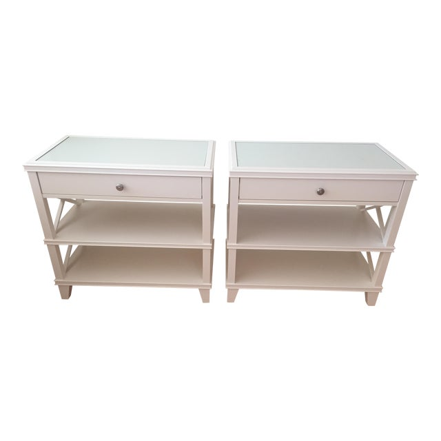 Pottery Barn White Bedside Tables A Pair Chairish - Pottery barn white bedside table