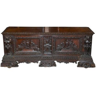 18th Century Hand Carved Walnut Coffer From Italy For Sale