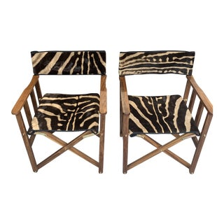 Zebra Leather Safari Campaign Director Chairs- a Pair For Sale