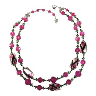 Vendome Necklace Beaded Pink Green Art Glass Crystals For Sale