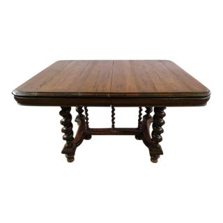Solid French Oak Jacobean Style Barley Twist Dining Table For Sale