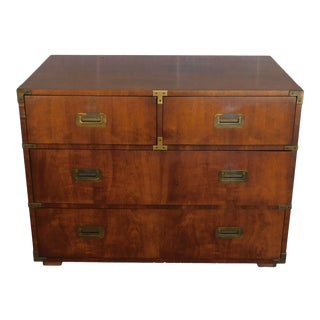 """Henredon Campaign Style 4 Drawer Chest 30""""h X 36""""w For Sale"""