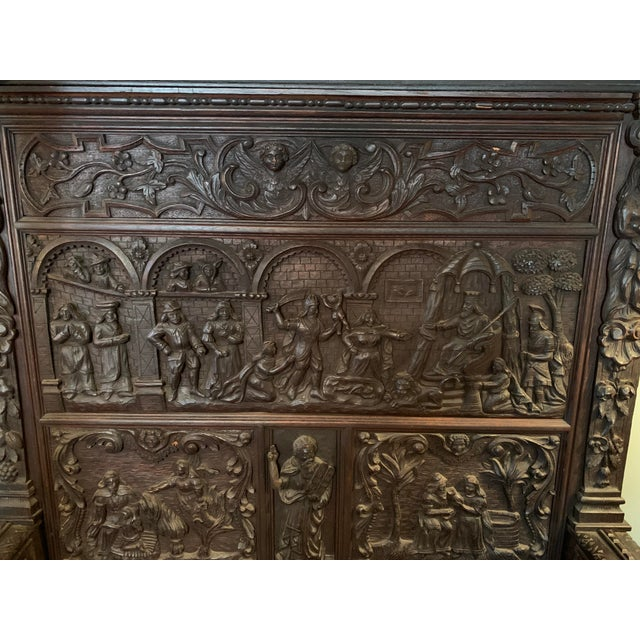 16th Century Antique High Gothic Pictorial Bench For Sale - Image 10 of 12