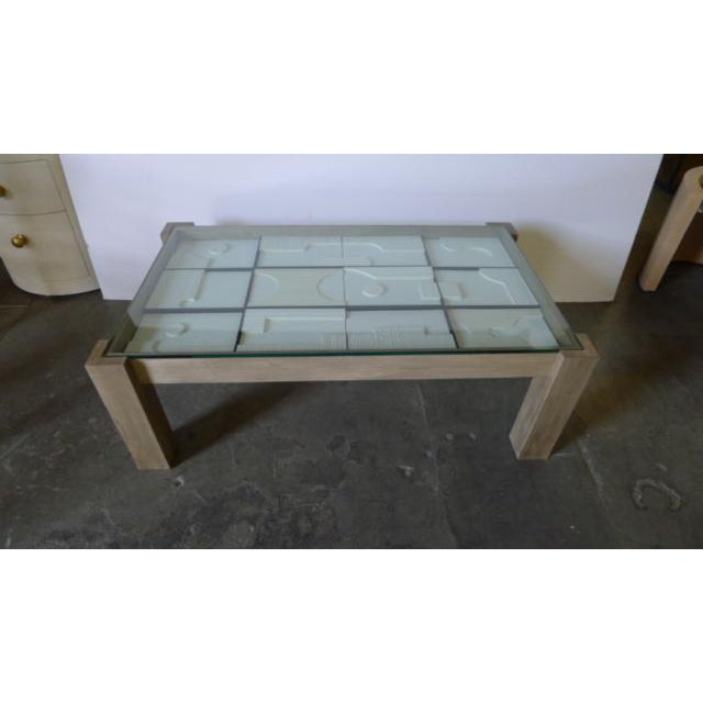 Contemporary Modernist Frieze Cocktail Table by Paul Marra - a Pair For Sale - Image 3 of 10