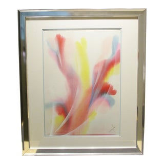 1970s Abstract Watercolor Painting by Dom Mingolla, Framed For Sale