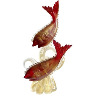 Murano Red Fish on Gold Coral Tendrils Italian Art Centrepiece Sculpture For Sale