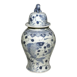Pair of Chinese Blue & White Temple Jars
