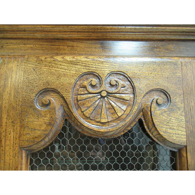 Wood Vintage Century Furniture Country French Oak China Cabinet For Sale - Image 7 of 13
