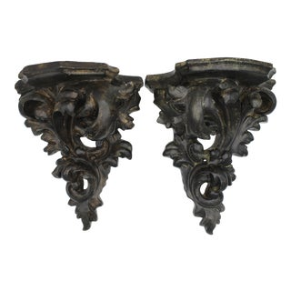 Mid Century Italian Acanthus Leaf Wall Shelves For Sale