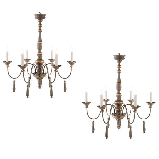 Two Chic Six-arm Chandeliers in Lovely French Grey Finish, Gilt Accents For Sale - Image 10 of 10