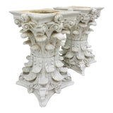 Image of Vintage White Corinthian Style Column Planters For Sale