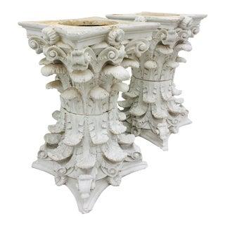 Vintage White Corinthian Style Column Planters For Sale