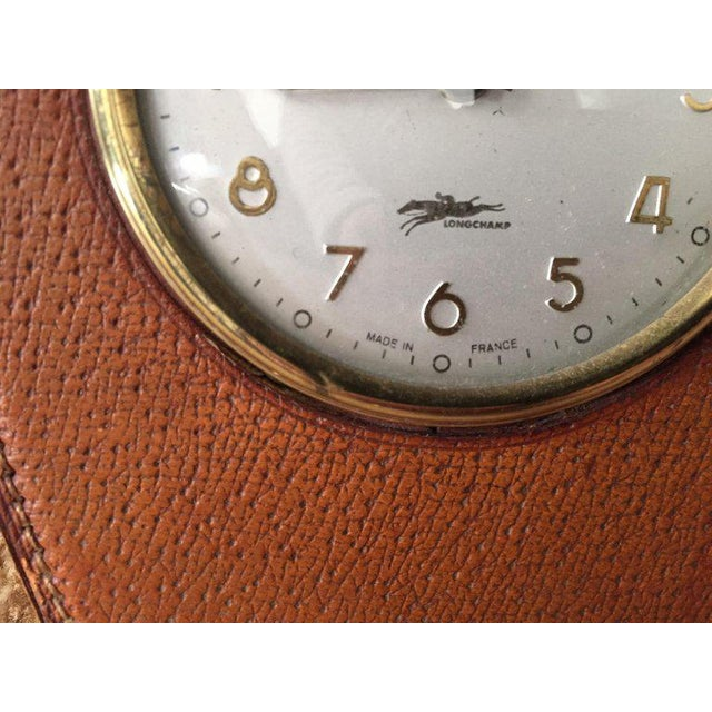 Metal Leather and Brass French Longchamp Desk Clock Jacques Adnet Style For Sale - Image 7 of 13
