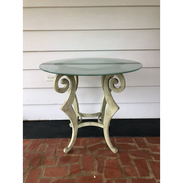 Pistachio Drexel Heritage Metal Scroll Side Table For Sale - Image 8 of 8