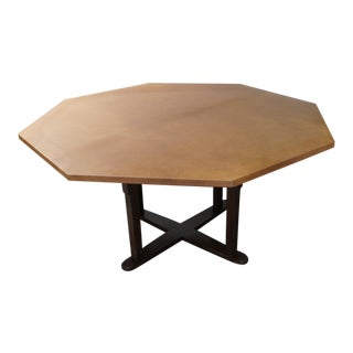 Transitional Leather Wrapped Octagonal Table