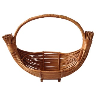 Vintage Handmade Wicker Rattan Basket For Sale