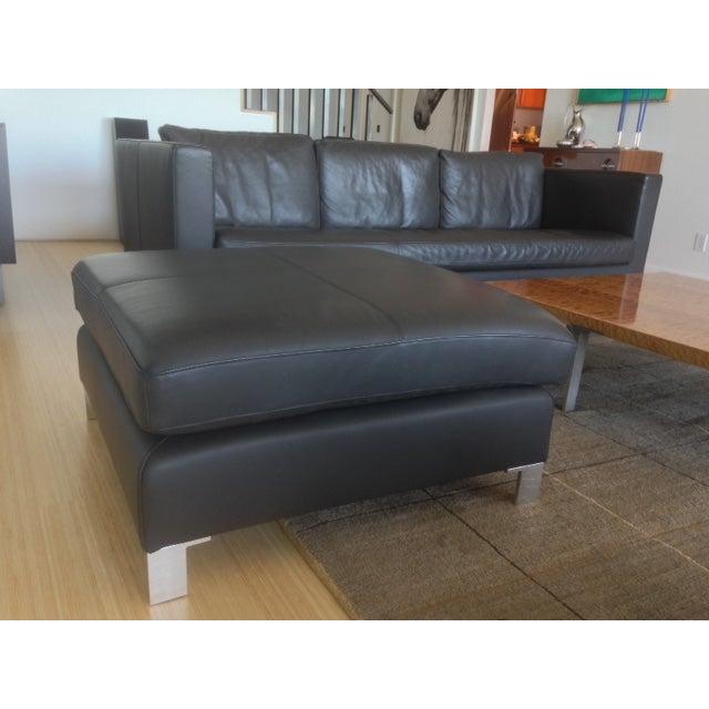Verdesign Dark Grey Leather Modern Sofa & Ottoman - Image 3 of 11
