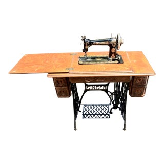 1909 Victorian Era Working Singer Sewing Machine Table For Sale