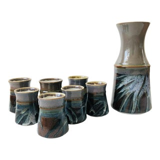 Vintage Studio Pottery Mugs and Carafe - 8 Pieces For Sale