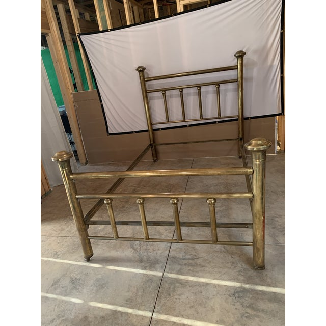 Early 20th Century Brass Low Full Post Bedframe For Sale - Image 12 of 12