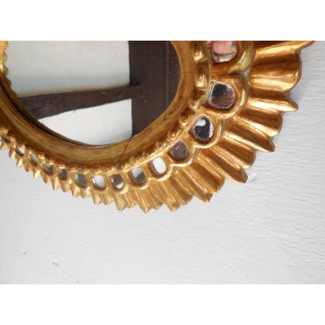 1950s French Gold Gilt Wood Starburst Sunburst Mirror For Sale - Image 5 of 11